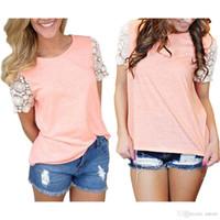 Wholesale New Arrivals Womens Ladies T Shirt Tops Blouse Cotton Blend Lace Short Sleeve Casual Fashion DX224