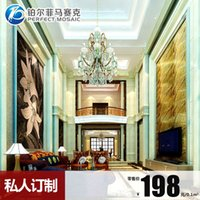 Wholesale Amalfi platinum ice jade glass mosaic mirror mosaic backdrop puzzle cut painting the living room wall stickers wall JH67
