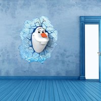 Wholesale Christmas pvc Cartoon Frozen D Wall Sticker Olaf Wall Poster for Kids Rooms Frozen Stickers Removable wall sticker bedroom livingroom