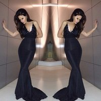 Wholesale Grace Karin Evening Dresses Sexy Mermaid Spaghetti Backless Celebrity Gowns Sheer Lace Beads Sweep Train Plus Size Formal Prom Dress