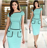 Wholesale 2016 New Elegant Bodycon Pencil Dresses for OL women working dresses Suits Slim Elegant Formal work Office Dresses evening DHL freeshipping