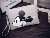 applique clutch - 2016 new handbag cute cartoon Mickey Mouse printed clutch handbag fashion trend Shoulder Messenger bag envelope