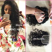 Wholesale New Arrial Water Wave Lace Closures Inch Base Top Hair Closure With Top Quality Brazilian Virgin Hair Wavy Closure