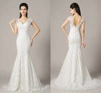 Trumpet/Mermaid Model Pictures 2015 Spring Summer Sexy Lace Wedding Dresses V-Neck Mermaid Backless Floor-Length ZAHY 100% Real Image In Stock Bridal Gowns BO1-1