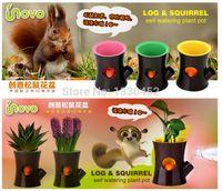 Wholesale Original Unovo Log and Squirrel Self Watering Flower Pot Squirrel Plant Pot Self Watering Plant Holder