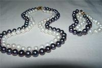 Wholesale 18KG Strd mm Black White Pearl Necklace Bracelet Set