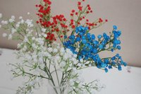 dried flowers - Babysbreath Decorative Flowers Home Display Artificial Flowers with Blue White and Red for Wedding and Party