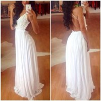 pure gold - Modern pure white summer beach A line wedding prom dresses super sexy backless spaghetti straps lace sweep train evening party gowns BO7223