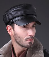 Wholesale man s fashion four seasons genuine sheep leather Military cap hat in black