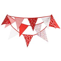 3.7M de 12 drapeaux drapeaux en tissu de coton Personnalité de mariage rouge Bunting Décoration de fête vintage Baby Shower Garland Décoration