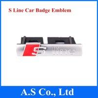 achat en gros de audi sline grill-10pcs S Line Grill Emblème avec Clips chromés Sline Grill Car Badge emblème pour Audi A1 A3 A4L A5 A6L Q5 8N0853601A Livraison gratuite
