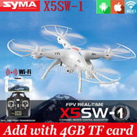 Wholesale 100 Original SYMA X5SW X5SW WIFI RC Drone fpv Quadcopter with Camera Headless G Axis Real Time RC Helicopter Quad copter Toys