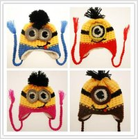 beaine hat - 500pcs TOPB3877 new color kids minions Crochet beaine knits handmade beanies baby Despicable Me beanies caps hats christmas halloween gift