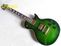 Wholesale Classic Chinese Guitar Ebony Fretboard G LP Custom Electric Guitar Green with White Binding Quilted Top