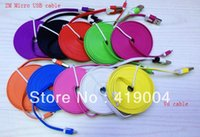 Cheap 2M Colorful Micro USB Noodle Flat Cable For Samsung galaxy s4 I9500 Blackberry HTC DHL Fedex Fast shipping,500pcs lot