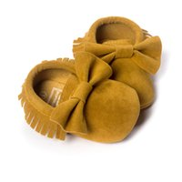 baby mustard - Mustard Yellow Baby Bow Suede Shoes Handmade Toddler First Walkers Children s Shoe Comfortable Prewalkers
