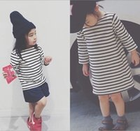 boat t shirts - Cotton Striped Long Sleeve Stripe Print O neck Kids Clothes Girls Dress Tee Children Clothing Dresses T shirt Fashion Causal D5272
