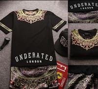 printed shirt tee - Famous Brand Underated London Bandana Shirt Side Zipper Floral Print Extend T Shirt Men Hipster Tops Streetwear Hip Hop Tee