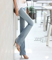 bell micro - new WOMEN flare stretch jeans female trousers micro speaker thin hip pants big yards denim bell Commuter