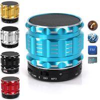 Wholesale Bluetooth Speaker Mini Bluetooth Speaker S28 Metal Steel Wireless Smart Hands Hi fi speaker With FM Radio Support SD Card Colors Mixed