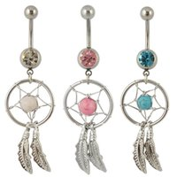 bell bikini - New Arrival Body Piercing Jewelry Crystal Gem Dream Catcher Navel Dangle Belly Button Bar Ring Sexy Body piercing For Women Bikini