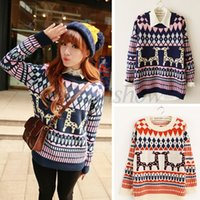 christmas jumpers - Hot Sale Women Crochet Sweater Ladies Thick Knit Christmas Reindeer O Neck Jumper Sweaters Colors b7