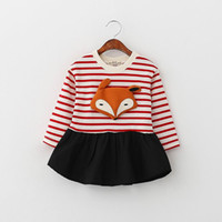 cute dress - 2016 Spring New Girl Dress Children Stereo Fox Stripe Cute Long Sleeve Dress T