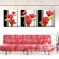 Cheap red rose 3 piece Pure hand-painted combination oil painting art pictures abstract landscape paintings on the canvas wall picture
