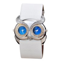 Cheap TGJW666 Animal Shape Clock Double Movement Watches High Quality Owl Watch Women Rhinestone Hours