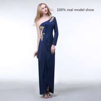 Wholesale 2015 Real Images Designer Dark Nave Vintage Evening Dresses with Applique Sheath Backless Jersey Prom Dress with Sleeves Custom Made