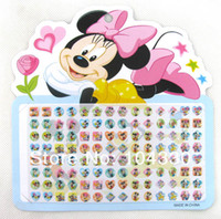 Wholesale New Sheets Mickey Minnie Cartoon Anime Pattern mix Multicolor stick on earring rings stickers Popular Children Gift