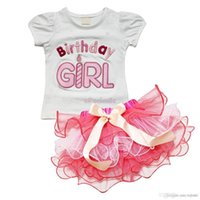 Wholesale Children Sets New girl s two piece suits baby short sleeve Happy birthday t shirt Bow tutu cake skirts girl summer clothing