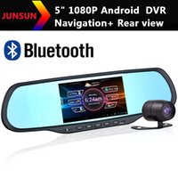 Cheap car dvr New 5 Inch HD Android Car GPS Navigation 1080P DVR Recorder+Rear View Camera+Bluetooth+AVIN Rearview mirror 2014 Free Map