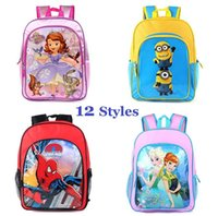 Wholesale Kids School Bags Backpacks D Cartoon Minions Avengers Princess School Bags Students Fashion Styles Double Shoulder Bags