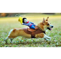 Wholesale 2016 Hot Sale Riding Horse Dog Costume Novelty Funny Halloween Party Pet Dog Costume Large Dog Clothes Cowboy Dog Clothing S XL