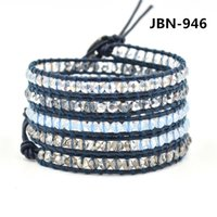 beaded bracelet designs - new hot jewelry infinity charm bracelet leather wrap bracelet hand woven bracelet for women mm crystal beads designs JBN