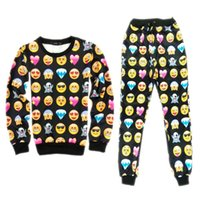 Emojis roupas Preços-2015 Spring 3D sweatshirt casual suit preto / branco emoji joggers unisex emoji equipamento pullovers Hoodies e sweatpants tracksuits
