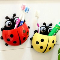 Wholesale Amazing Lovely Ladybug Toothbrush Wall Suction Bathroom Sets Cartoon Sucker Toothbrush Holder Suction Hooks toothbrush rack