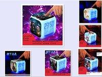 plastic table clock - 18 OFF LED Digital Clock Alarm Thermometer Nightlight Plastic Colorful Glowing Clock LED table clock Patterns