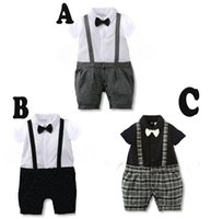 Wholesale Infant Boy Rompers With Bow tie Boys short sleeve gentleman strap One Piece Romper Kids Climb Clothes Toddler Plaid Jumpsuits