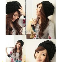 Wholesale Lady Women Knit Winter Warm Crochet Hats Braided Baggy Beret Beanie Cap Casual Hat New