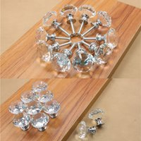 Wholesale Chrome polished zinc alloy base brilliant brilliant crystal rhinestone cabinet door knobs furniture handles and knobs