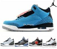 black powder - Nike dan Retro Powder Blue Black White Cement Infrared Mens Womens Basketball Shoes Brand New AJ3 retro Sneakers J3s