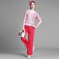 Wholesale MIUCO spring couture fashion sequins V collar shirt wide leg trousers ladies fan set
