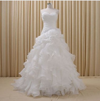 Wholesale Real Photo Organza Cheap Wedding Dresses Ball Gowns Bridal Gown Sweetheart Off Shoulder Ruffles Wedding Gown Custom Made