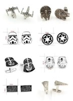 Wholesale 500pcs fashion designs star Wars Cufflinks Cuff Links Cartoon Jedi Knight Darth Vader Novelty Cufflinks Jewelry Cuff Links D526