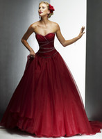 Wholesale Gorgeous A Line Wedding Dresses Dark Red Strapless Backless Sequins Beaded Court Train Bridal Gowns BO6924