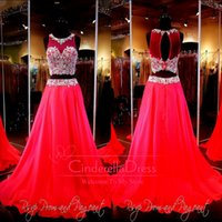 flowing prom gowns - Fashion Red Two Piece A Line Gown Beaded Crop Top Keyhole Back Flowing Chiffon Skirt Prom Dresses Or Ball Gown Pageant Gowns rsvp