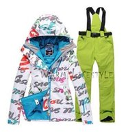ladies pant suits - 2015 High quality lady letter ski suit single and double plate ski jacket sets pants thick warm clothes