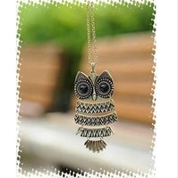 Wholesale Fashion vintage owl Necklaces Bronze Cute Owl Necklace With Big Eye Pendant Necklace for women colors N1